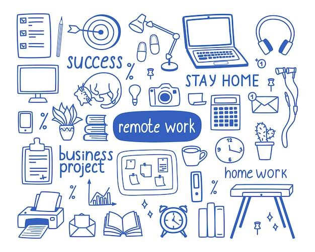 집에서 일하는 주제, 원격 작업의 개념에 대한 윤곽 요소 세트