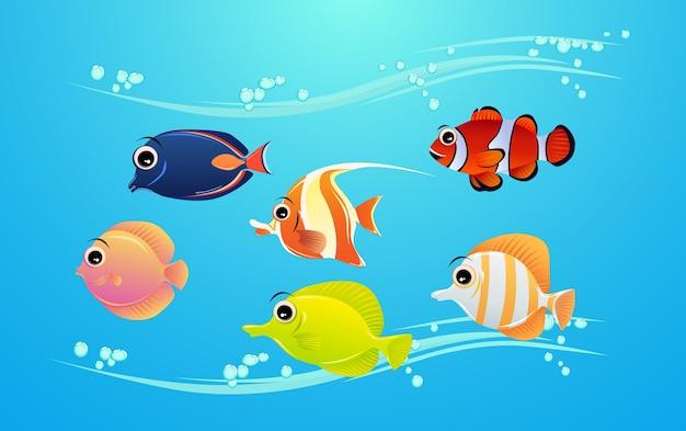 かわいい、美しい海の魚の文字のセット