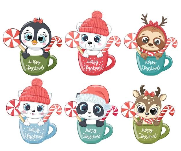 Набор милых зверюшек на новый год и на рождество. котенок, пингвин, белый медведь, северный олень, панда, ленивец. векторная иллюстрация мультфильма.