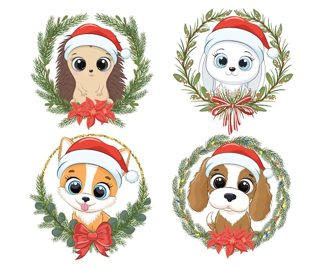 Набор милых зверюшек на новый год и на рождество. ежик, заяц, кролик, собака корги, щенок. векторная иллюстрация мультфильма.