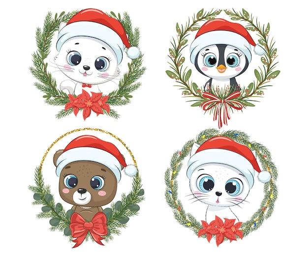 Набор милых зверюшек на новый год и на рождество. котенок, кот, медведь, пингвин. векторная иллюстрация мультфильма.