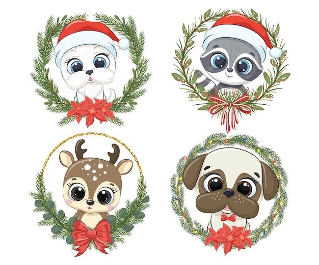 Набор милых зверюшек на новый год и на рождество. щенок, собака, енот, северный олень. векторная иллюстрация мультфильма.