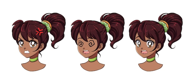 다른 표정으로 귀여운 애니메이션 소녀 세트. 검은 머리카락, 크고 검은 눈.