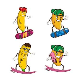 かわいいバナナとマンゴーのキャラクタープレミアムベクトルのセット