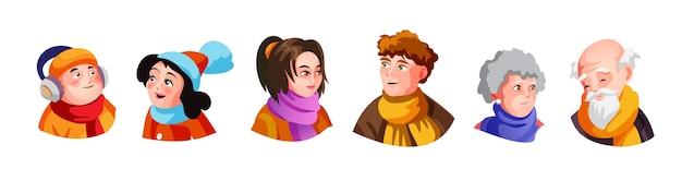 さまざまな表情のさまざまな活動を行うさまざまな秋の服を着たかわいい大家族の頭のイラストのセット。漫画のスタイルの隔離された図