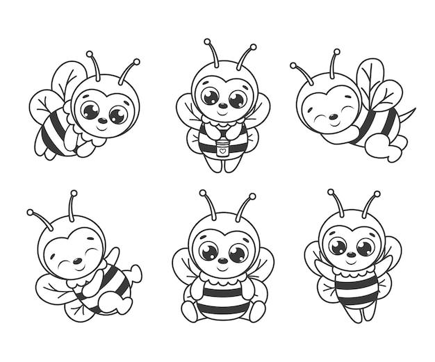 かわいい漫画の蜂のセット。塗り絵の黒と白のベクトルイラスト。輪郭の描画。