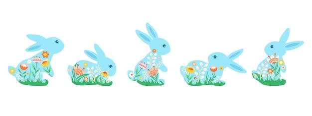 Набор милых разноцветных кроликов, украшенных цветами