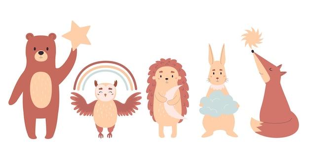 귀여운 숲 동물 세트입니다. 아기 방을 장식하기 위한 평면 스타일의 벡터 그림.