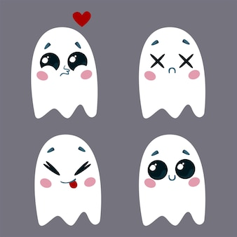 さまざまな感情を持つかわいい幽霊のセットハロウィーンのキャラクターのベクトルイラスト