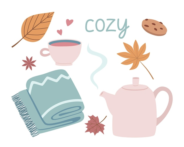 かわいい手描きの秋の要素のセット。ベクトルティーポット、マグカップ、毛布、季節の居心地の良いデザインの葉。