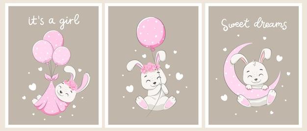 女の子のためのかわいいウサギのセット。甘い夢、月、花、熱気球のフライト。漫画のベクトルイラスト。