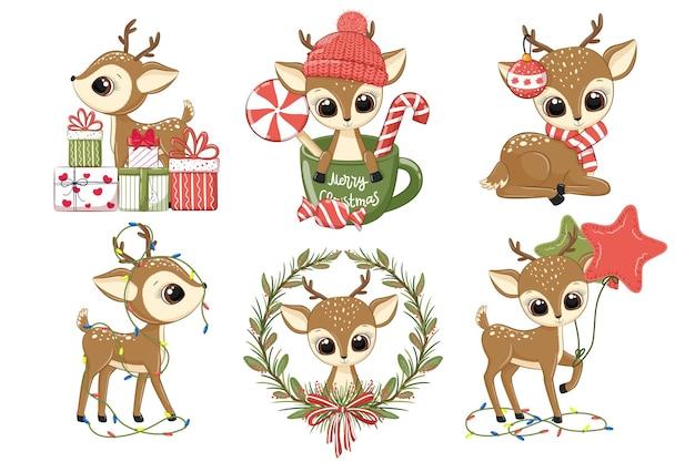Набор милых оленей на новый год и на рождество. векторная иллюстрация мультфильма.