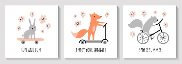かわいい夏のカードのセットかわいいウサギリスキツネリスバイクスクータースケートボード夏。