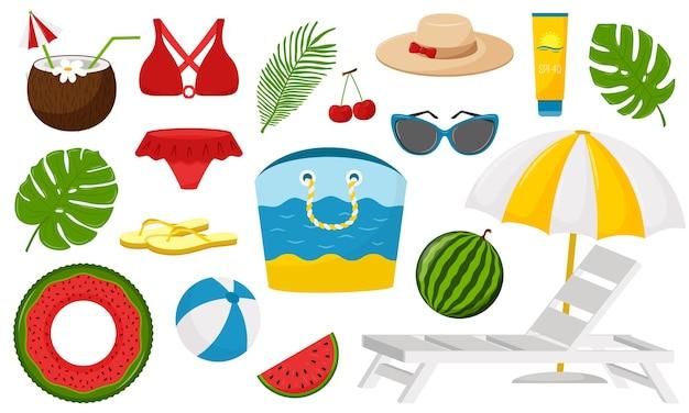 여름을위한 평면 만화 스타일의 장식 요소 세트