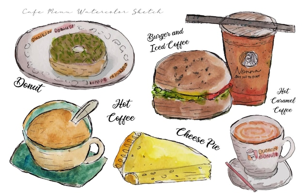 おいしい食べ物や飲み物の水彩スケッチのセット
