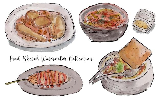 Набор вкусной еды акварельный эскиз