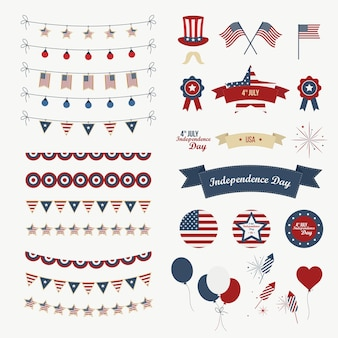 A set of design elements for Independence Day. 4th of July Objects, Element. Isolated on white. Vector icons.