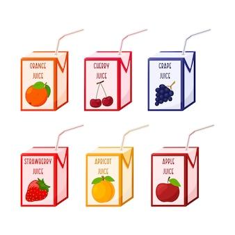 빨대가 있는 판지 상자에 있는 다양한 주스 세트. 과일과 베리 주스. 유아식