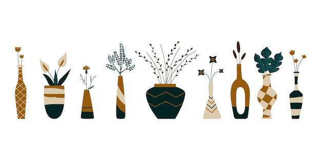 식물이 있는 다른 꽃병 세트