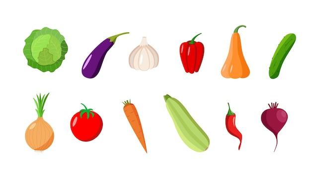 さまざまな野菜のセット。季節の秋の収穫のベクトルイラスト。