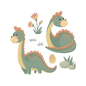 恐竜の石と花のセット