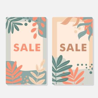 파스텔 색상의 할인 카드 세트입니다. 단풍과 장식 요소