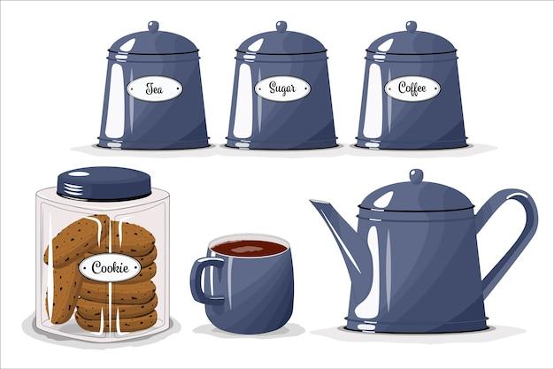 キッチン用の食器一式。カップ、やかん、砂糖、お茶、コーヒー用の瓶。クッキーの瓶。