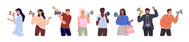 スピーカーを持った多様な人々のセット。白い背景で隔離のさまざまなポーズで若い男性と女性の色付きフラットベクトルイラスト