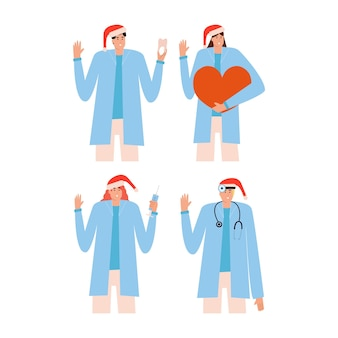 Набор врачей в красной шляпе рождество. врач-стоматолог, лор, кардиолог, терапевт. коллекция медицинских персонажей. векторная иллюстрация в плоском стиле