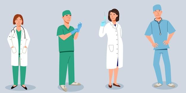 의사의 집합입니다. 의료진은 의사와 간호사, 의사 그룹입니다. 평면 스타일의 벡터 일러스트 레이 션.