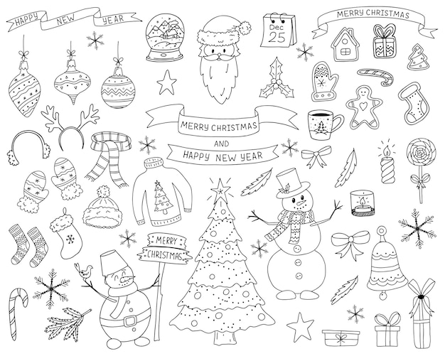 Doodleスタイルの要素のセット。新年とクリスマスのデザインの要素のコレクション。スケッチは手描きで、白い背景に分離されています。外形図。