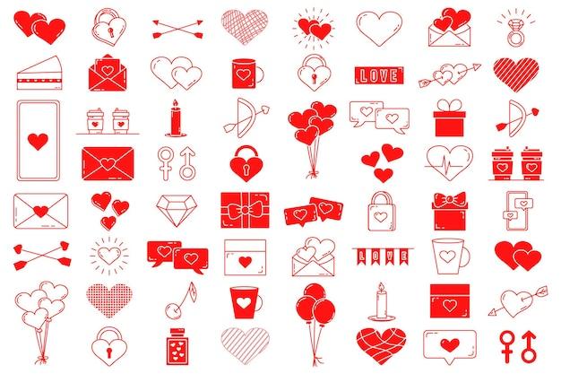 Набор редактируемых векторных элементов. коллекция дня святого валентина с редактируемым ходом. векторные милые иллюстрации. любовное письмо. изолированные значки на белом фоне.