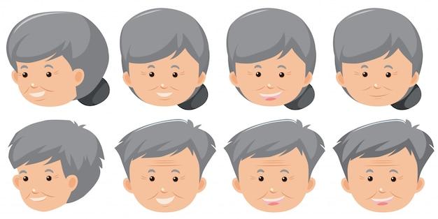 Набор пожилого выражения лица