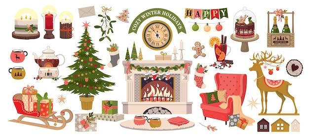 Cozy winter holidays.vector、白い背景、分離の要素のセット。