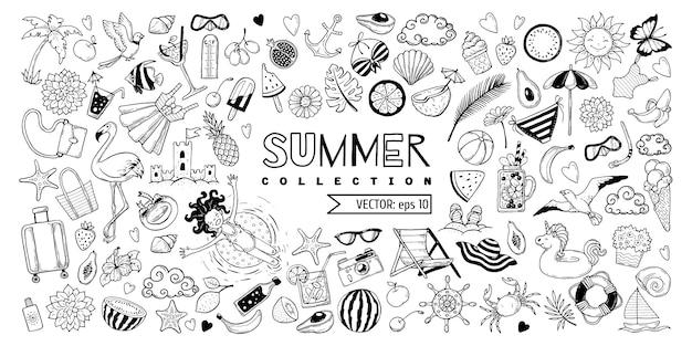 夏の要素のセット。