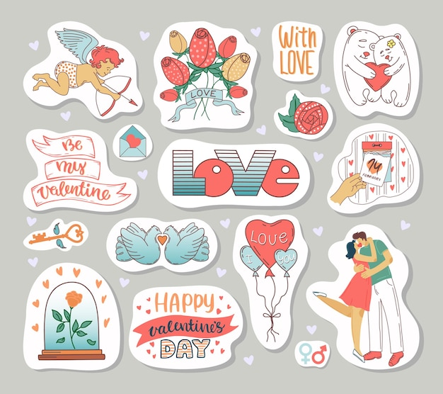 Набор элементов ко дню святого валентина. наклейка в мультяшном стиле.