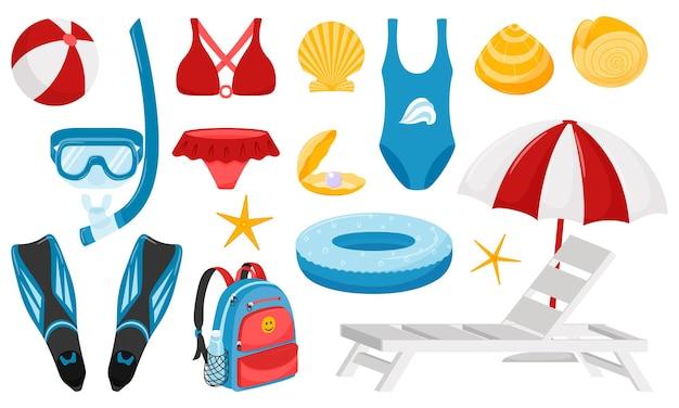바다 휴양의 요소 집합입니다. 여름, 휴가, 휴일, 다이빙, 수영을위한 디자인 요소