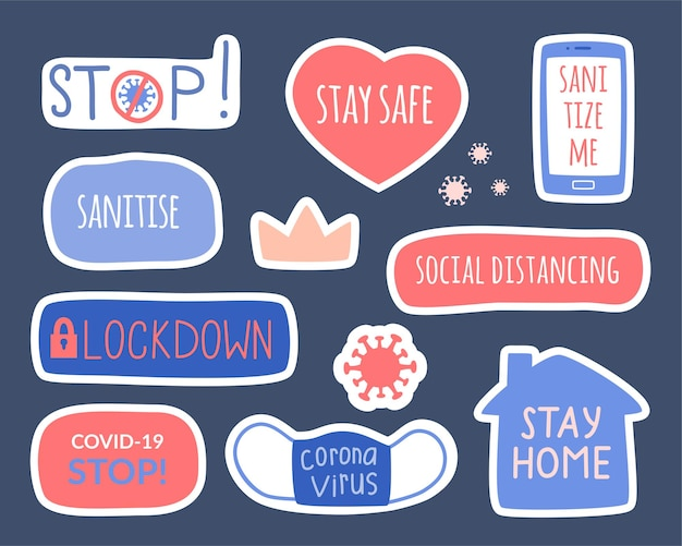 コロナウイルス、衛生、検疫のトピックに関する要素のセット。手描きのステッカーのセット-家にいて、距離を保ち、消毒します。