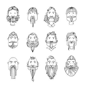 ひげを持つ男の顔のセット。