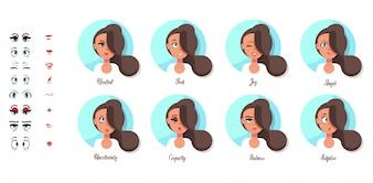 A set of female emotions