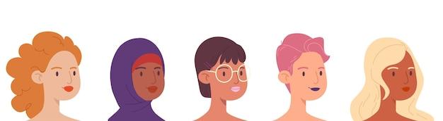 다양한 형태의 여성 얼굴 세트.