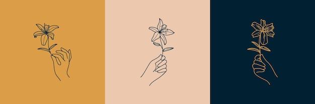 미니멀한 단순한 선형 스타일의 여성 손 로고 세트. 벡터 엠블럼과 배지에는 여성의 손과 백합 꽃이 있습니다. studio a 네일 및 헤어 살롱, 스파의 여성 아이콘