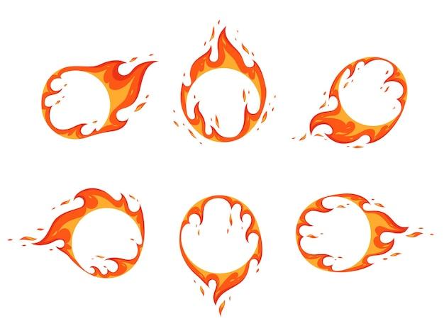 불 같은 프레임 세트. 디자인을 위해 중앙에 여유 공간이있는 원 형태의 불꽃. 평면 만화. 흰색 배경에 고립.