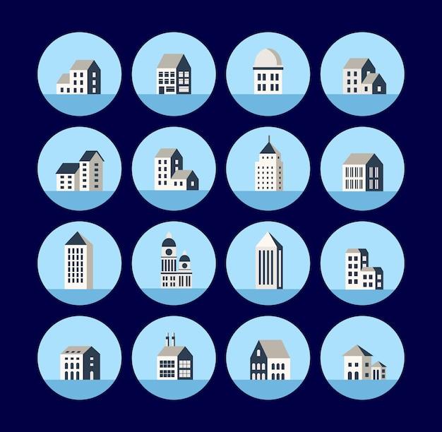 도시 건물이 있는 평면 아이콘 세트입니다. 건물의 아이콘입니다. 아이콘 홈입니다. 타운 하우스의 집합입니다. 주택의 아이콘과 상업 및 시립 재산의 건설.