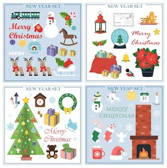 새해와 크리스마스를 위한 평면 삽화 세트는 벽난로가 있는 격리된 이미지 세트입니다...