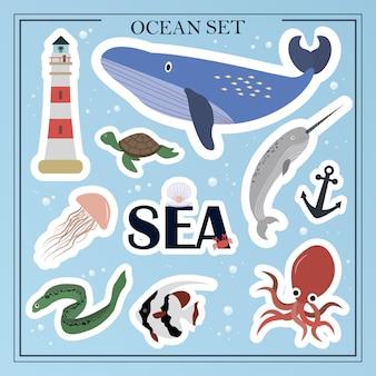 평평한 바다 동물 세트 해양 생물 동물 식물 침몰 한 개체 만화 벡터 일러스트