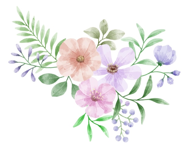 さまざまなカードやグリーティングカードに添えるために水彩絵の具で描かれた花のセット