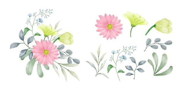 水彩絵の具で描かれた花のセット