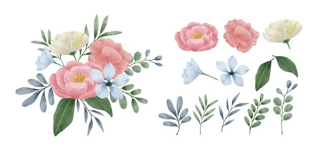 수채화로 그린 꽃 세트