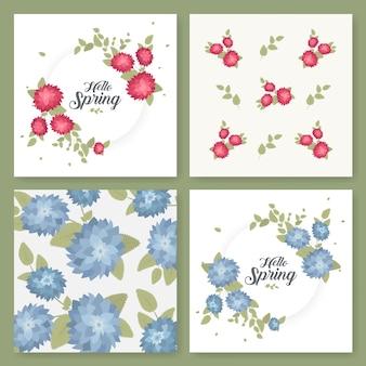 전단지, 브로셔, 템플릿 디자인의 집합입니다. 꽃 패턴 및 장식품 빈티지 카드입니다. 꽃 장식, 잎, 꽃 장식품. 봄 또는 여름 배너 벡터.